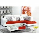 Eho-1070  //  Red and White Italian leather Sectional