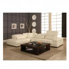 Model: CR-Bella  //  White Leather Bella Modern Sectional with Long Throw Pillows