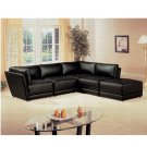 C_500891  // 5 Piece 100% Black Bonded Leather Sectional