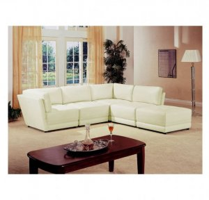 C_500894 // 5 Piece 100% White Bonded Leather Sectional (FLOOR MODEL)