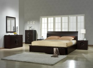 Zen Unique Design Wenge Bedroom Set with Storage Bed