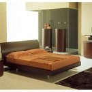 Time European Leather Contemporary Brown Bedroom set