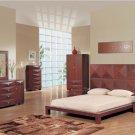 Stylish Milena Wenge Finish Modern Bedroom Set w/ High Headboard