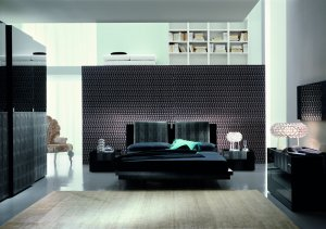 Modern Diamond Italian Bedroom Set With Swarovski Crystal Inlays