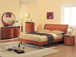 Emily Modern Bedroom set in cherry finish (Queen/King)