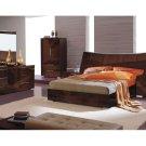 Capri Contemporary Walnut Finish Platform Bedroom Set
