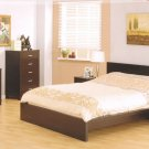 Aurora Modern Wenge Wooden Bedroom Set w/ Metal Accents