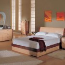 Contemporary Maple Queen Size 5pc Bedroom Set Symphony