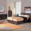 Contemporary Wenge Queen Size 5pc Bedroom Set Symphony