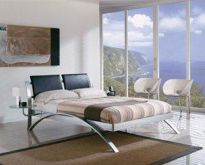 E-390 // Modern Spain Chrome Queen/King Size Platform Bed
