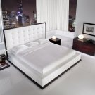 ML-MD317  //  Contemporary Ludlow Bed in White Lavish Tufted Leather Headboard