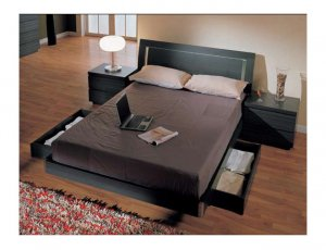 CR-Toscana  //  Dark Colored Platform Bed with Decorative Lighting in Headboard