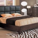 CR-Canada //  Stylish Wenge Color Platform Bed w/Upholstered Headboard Details