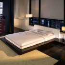 ML-HB39A-Q  //     Worth Low Profile Wenge Platform Bed w/ Leather Headboard