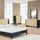 Two-Toned Biege / Dark Mahogany Modern Simone Bedroom Set