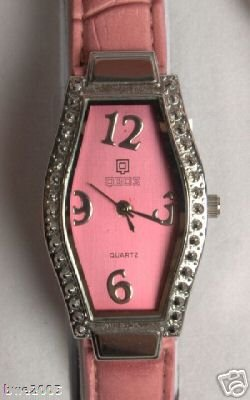 Watch Ladies Pink Leather Quartz Gift Set Change Purse Key Ring NIB