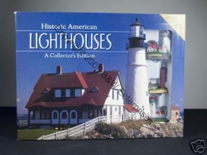 Lighthouse Historic American Lighthouses Book & 6 Minature Models  Sculpture Collection New