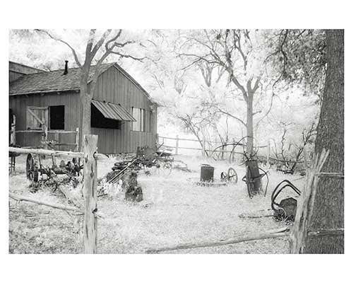 """Blacksmith Shop #15"" Infrared Austin Texas Barn Landscape Fine Art Photo Eddie Burgess"