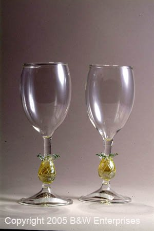 Reception Wine Glass (2) with Pineapple Hospitality Stem NIB Friendship Glass