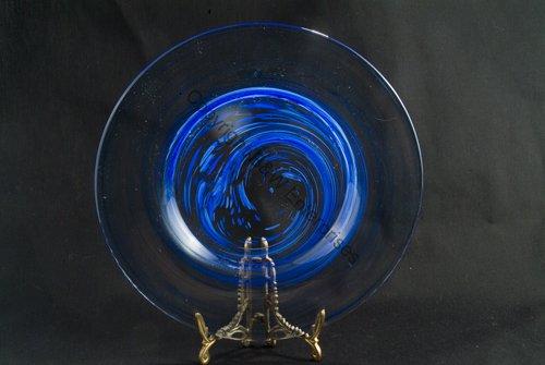 Blue Swirl Designer Plate Martini Margarita Use New Bar Saucer