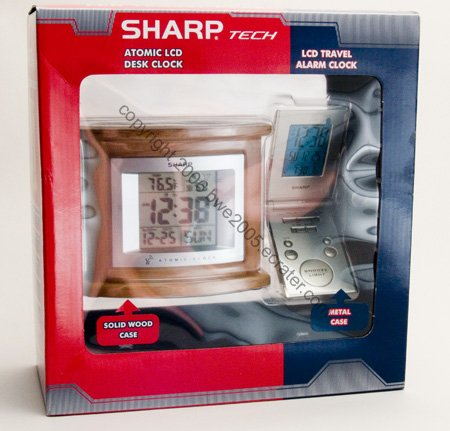 Sharp Atomic Desk Clock Natural Wood & Folding case Metal Clock Travel Alarm by Sharp NEW