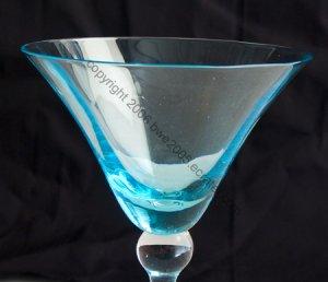Martini Margarita 2 Glasses Pale Blue Unique Designer 8.125 Inches Tall