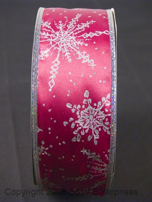 Ribbon Wire Edged 2.5 inch Designer Bows Wreaths Red Snowflake Santa Gifts NEW
