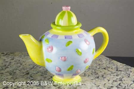 "Collectible Teapot Oneida Silversmith Ceramic Tea Pot ""Floral Toss"""