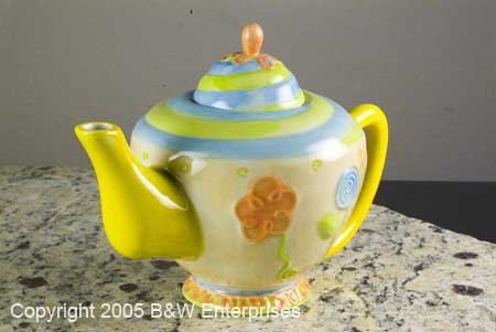 "Collectible Oneida Ceramic Teapot Spring Art Silversmith ""Spiral Floral"" Collectible"