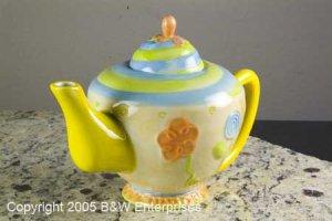"""Collectible Oneida Ceramic Teapot Spring Art Silversmith """"Spiral Floral"""" Collectible"""