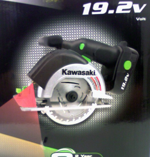 Kawasaki Cordless 19.2v Circular Saw Laser Guide 2 -1 hour batteries 4 blades charger Kit  NEW