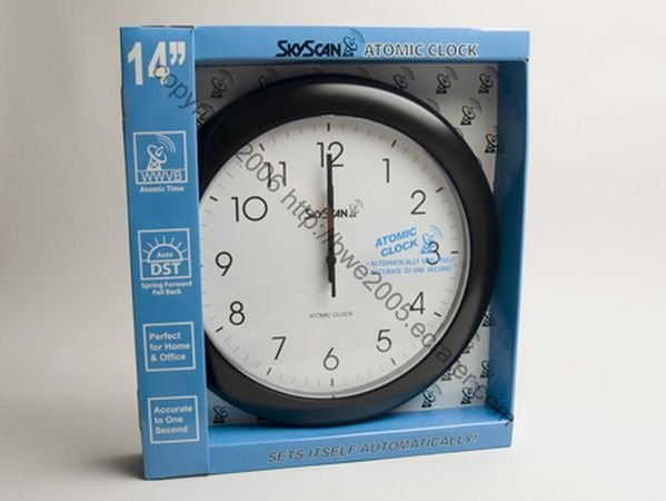 Atomic Wall Analog Clock by SkyScan 14 inch Modern Styling Black NIB