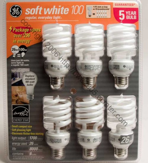 Fluorescent Bulbs by GE 6-Pack 26 Watt bulbs with 100 watt Output Save Electricity NIB