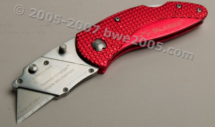 Folding Lock-Back Utility Knife X-Blade Anodized Red Aluminum Handle Metal Belt Clip NIB