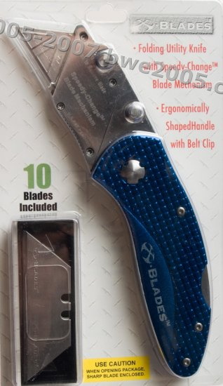 Folding Lock-Back Utility Knife X-Blade Anodized Blue Aluminum Handle Metal Belt Clip NIB
