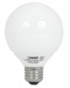 Feit G25 Globe Feit 11w Fluorescent ECObulb G25 ESL11GTMM Package of 4 Light Bulbs