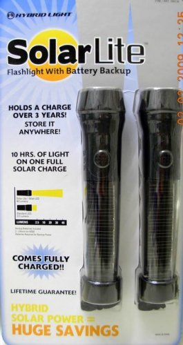 Hybrid Solar Lite LED Flashlight Light Battery Backup (2 Pack) Li-Ion batteries included NIB