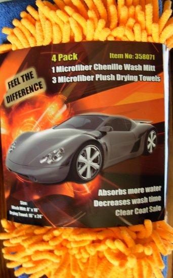 Microfiber Chenille Detailing Mitt & 3 Microfiber Towels Cars Trucks Motorcycles NEW