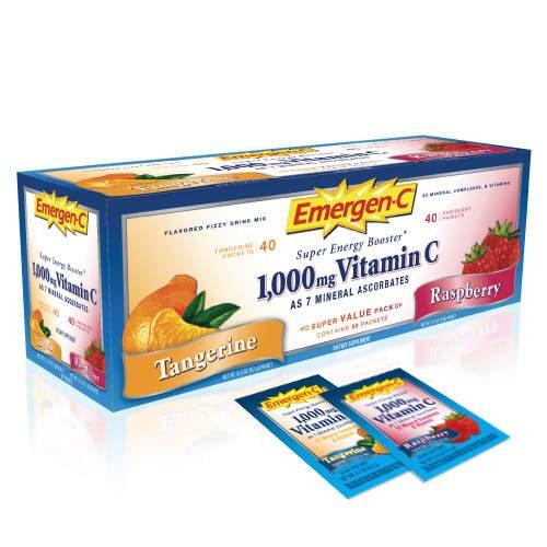 Emergen-c Super Energy Drink Mix 1000 Mg Vitamin C 32 Minerals, B Vitamins 40 Tangerine 40 Raspberry
