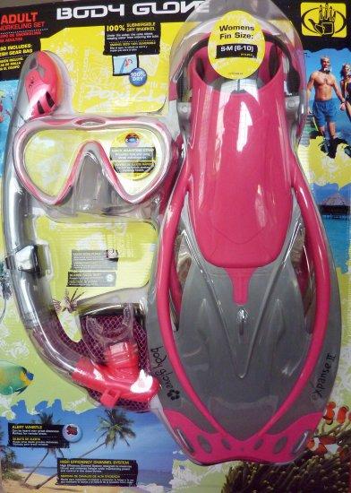 Body Glove size S Ladies PINK Adult Snorkel Set Mask Fin Snorkle Bag Professional Silicon NIB