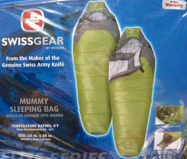 SwissGear 0 Degree F Mummy Sleeping Bag Free Delivery MP3 Pocket Many Comfort & Quality Features NIB