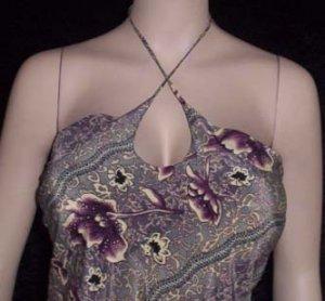 NEW HAWAIIAN PRINT FLORAL HALTER DRESS Large gray