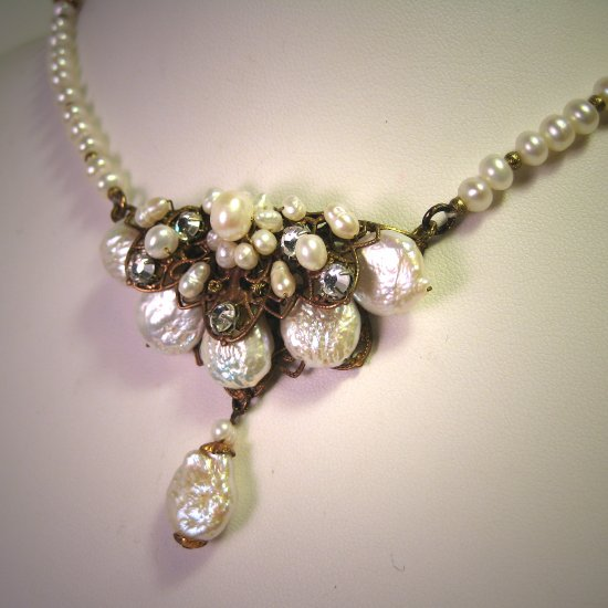 Designer Baroque Pearl Necklace with Filigree by J. Wass Designer Jewelry