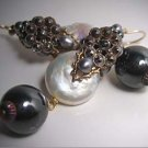 Antique Steel Cut Earrings with Pearls by J. Wass Designer Jewelry