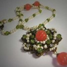 Cherry Quartz Peridot Seed Pearl Necklace by J. Wass Designer Jewelry