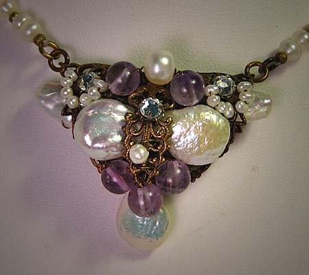 Pearl Necklace with Amethyst by J. Wass Designer Jewelry Vintage
