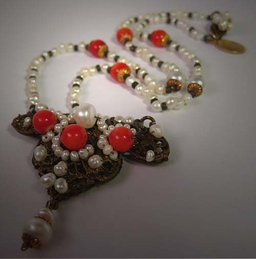 Antique Inspired Coral and Pearl Necklace by J. Wass Designer Jewelry