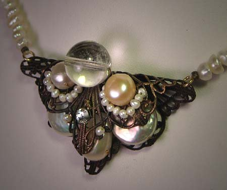 Pearl Rock Crystal Necklace by J. Wass Designer Jewelry Art Deco Inspired