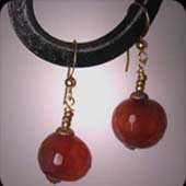 Faceted Carnelian Earrings with Aged Findings by J. Wass Designer Jewelry