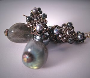 Antique Steel Cut Earrings with Labradorite Pearls by J. Wass Designer Jewelry